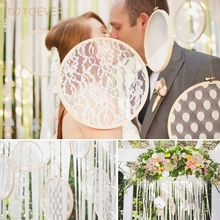 1pcs Vintage Cotton Embroidery White Lace Flower Hoops Rustic Wedding Hanging Lace Wedding Ideas Backdrops Wedding Decoration(China)
