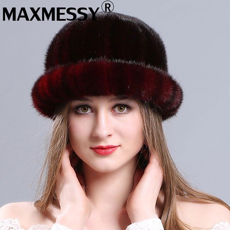 MAXMESSY Real Mink Fur Hat Women Winter Fur Hats 4 Colors Knitted Mink Fur Hats Women Real Fur Beanies Hats WinterÎäåæäà è àêñåññóàðû<br><br>