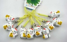 Free shipping! Wholesale 100pcs Cute Hello Kitty Bell Cell Phone Charm Strap Christmas gift