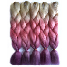 Chorliss 24inch(65cm) Jumbo Synthetic Hair Extensions Ombre Braiding Hair Straight Crochet Braids 613TpinkTpurple 100g/pack