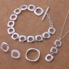 2016 Fashion stainless steel bridal jewelry silver plated Wedding style Round Earrings necklace jewelry sets AT037-040