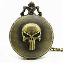 New Arrival Vintage The Punisher Skull Dial Roman Numeral Quartz Pocket Watches Analog Pendant Necklace Chain Relogio(China)