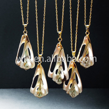 Hotl!Bohemia sea shell necklace gold trim, slice shell jewelry necklaceWT-N333