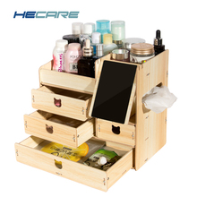 2017 New Storage Box for Jewelry Cosmetic Wooden Storage containers Organizers DIY Storage Drawer of ornaments Box for cosmetics(China)