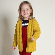 Autumn Winter Warm Thick Crochet Kids Cardigan For Girls Cotton Grey Yellow Baby Girls Knitted Cardigan Sweater Jacket Coat