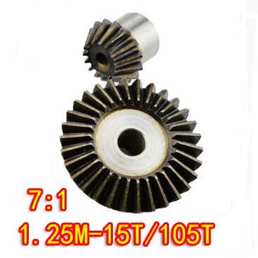 1.25M-15T/105T(7:1)Precision 90 Degree Cone Bevel Gear Umbrella Steel Gear<br>
