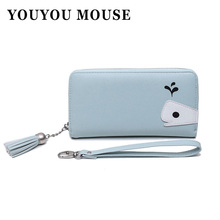 YOUYOU MOUSE Long Cute Cartoon Women Wallet Fashion Whale Design Money Wallets Ladies Clutch Zipper Coin Purse Card Holder(China)