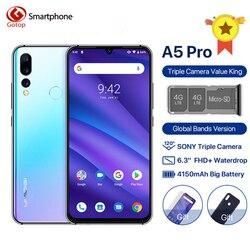 UMIDIGI A5 PRO Android 9,0 мобильный телефон 16MP Тройная камера Восьмиядерный 6,3 FHD + экран капли воды 4150mAh 4GB + 32GB 4G мобильный телефон