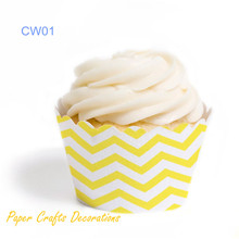 "20pcs/lot (3.5"" x 2"") Yellow Chevron Cupcake Wrappers Wedding Birthday Party Decorations Free Shipping"