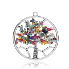 Fashion Jewelry Chakra Tree Of Life Quartz Pendant Multi Color Wisdom Tree Natural Stone Pendant 3615