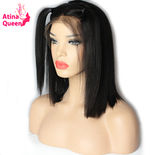 Atina Queen 180 Density Straight Brazilian Lace Front Bob Wigs Glueless Cut Short Wig for Black Women Free Ship Remy Human Hair(China)