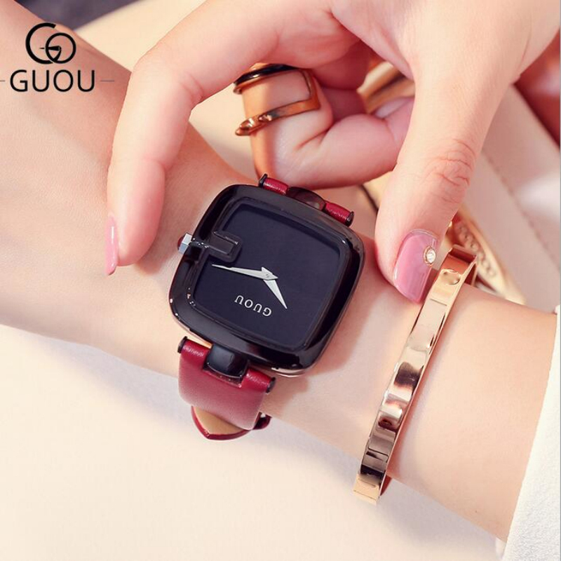 GUOU Watch Brand Soft Genuine Leather Women Watches Simple Vogue Ladies Watch Clock bayan kol saati relogio feminino reloj mujer<br>