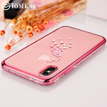 TOMKAS Rhinestone Cases For iPhone X Case TPU Soft Glitter Silicone Cover Ultra Thin Cute Cases For iPhone X Diamond Case Capa(China)