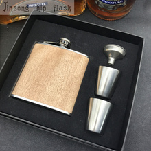 Natural  Wooden Wrapped 6oz Stainless Steel Hip Flask, logo can be engraved free