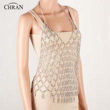 CHRAN Exclusive Party Accessories Women Xmas Gifts Full Metal Shoulder Body Chain Jewelry Necklace Bikini Harness Dress