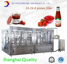 24-24-8 ketchup piston washing filling capping machine,1L tomato paste glass bottle wash fill seal monoblock packing line CE