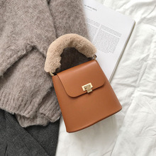 Bucket Small Tote Women Shoulder Bag Fur Handle Lady Crossbody Purse(China)