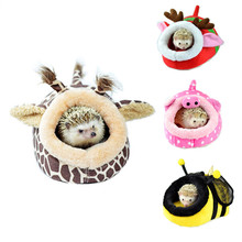 Cute Cartoon Small Pet House Soft Cotton Hamster House Bed Warm Winter Rabbit Rat Cage Sleeping Nest Pet Beds with Removable Mat(China)