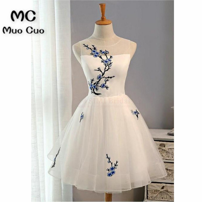 White Embroidery Graduation Dresses Prom Dresses