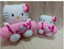 2 sizes Together Kawaii Cartoon Hello Kitty Warm Coral Fleece Baby Children's Soft Blanke(China)