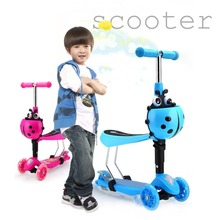 Buy 3 Modes Flashing Light Front Wheel Skateboard Children Scooter Adjustable Hand Bar Removable Seat Toddler Kids Baby Walker for $64.62 in AliExpress store