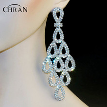 "Chran Luxury Bridal Gold Color Clear Rhinestone Crystal Earings Wedding Party Dangle 5"" Chandelier Drop Earrings Jewelry LE810"