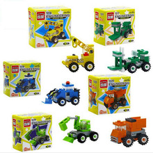 Assemble Building Blocks Toys City Series Road Forklift Truck Tractor Sweeper Excavator Doodle Car for Children Toys Gifts #NB1