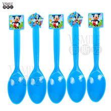 12pcs Pink Blue Cute Minnie Mickey Mouse Girls Boys Theme Party Plastic Spoon Knives Forks Birthday Festival Party Supplies