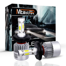 MEILISTAR 2Pcs H4 LED H7 H11 H8 9006 HB4 H1 H3 HB3 COB S2 Auto Car Headlight 72W 8000LM High Low Beam Bulb Automobile Lamp 6500K