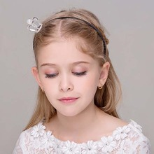 Clear Stone Flower Girls Small Crown Hairbands Kids Metal Headbands Jewelry(China)