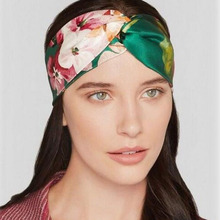 Summer Bohemian Silk Cross Headband With Elastic Hairband For Women Girl Retro Floral Turban Headwraps