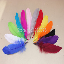 "Hot selling a lot of a lot of 200 PCS/color 6-8 ""15-20 cm goose saddle horn process feather mask sinamay hat/party(China)"