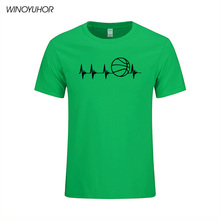 2017 New Fashion Mens Short Sleeve T Shirt Cotton Heartbeat Basketballer Printed T-Shirt Summer Funny Gift Tee For Men(China)