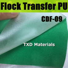 CDF-09 Green flocking transfer pu for shirts, heat transfer flock PU Vinyl for garment with free shipping size:50CMX100CM/LOT