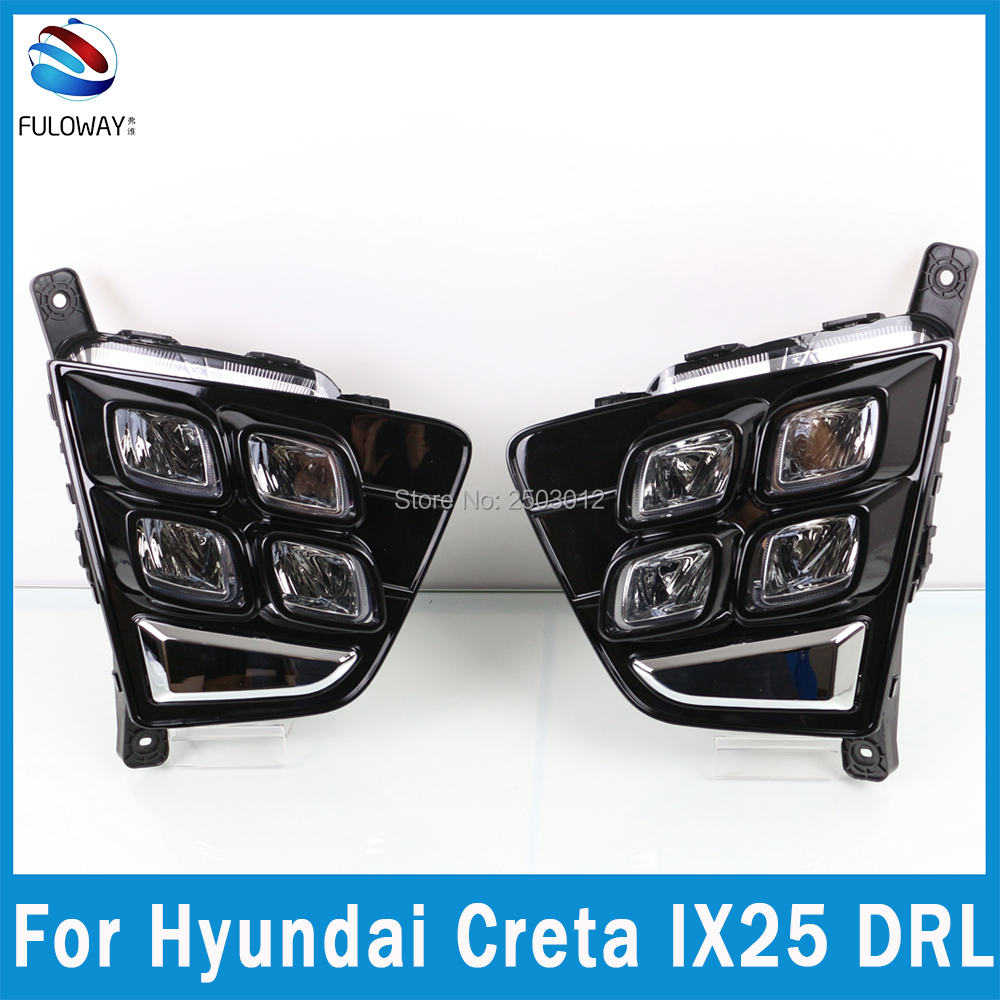 For Hyundai Creta IX25 2014 2015 2016 LED Daytime Running Light DRL Super Brightness Fog Lamp Decoration  ABS Cover  Car-styling<br>