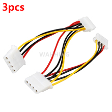 3pcs 4 Pin Molex Male to 3 port Molex IDE Female Power Supply Splitter Adapter Cable Computer Power Cable Connector HY1264*3(Hong Kong)