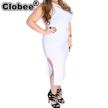 Plus Size Women Clothing 2017 Summer Sleeveless work wear Midi dress Slim Party Sexy Clubwear Side Split Bandage Dress WR996