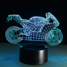 Hot sale Motorcycle Colorful gradient 3D night light Creative remote control or touch switch night light Atmosphere lamp