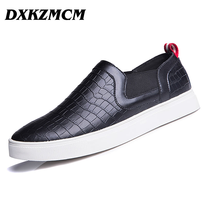 DXKZMCM New Men Flats Cow Genuine Leather Slip On Casual shoes Men Loafers Moccasins Sapatos Men oxfords<br>