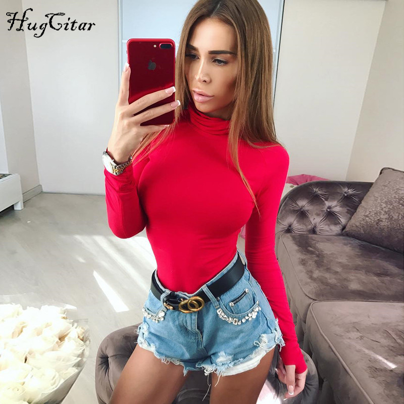 Cotton Long Sleeve, High Neck Bodysuit, Women's Solid Sexy Bodysuit 12