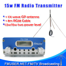 Freeshipping FMUSER 15W FU15A stereo PLL FM  transmitter broadcaster GP antenna power KIT FM transponder