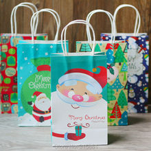 Merry Christmas Kraft paper gift bag,Paper gift bag with handles  21x13x8cm 10pcs/lot