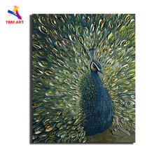 Plate Knife Painted Peacock Wall Art Picture Handpainte Modern Abstract Oil Painting on Canvas Wall Art Gift Living Room Decora(China)