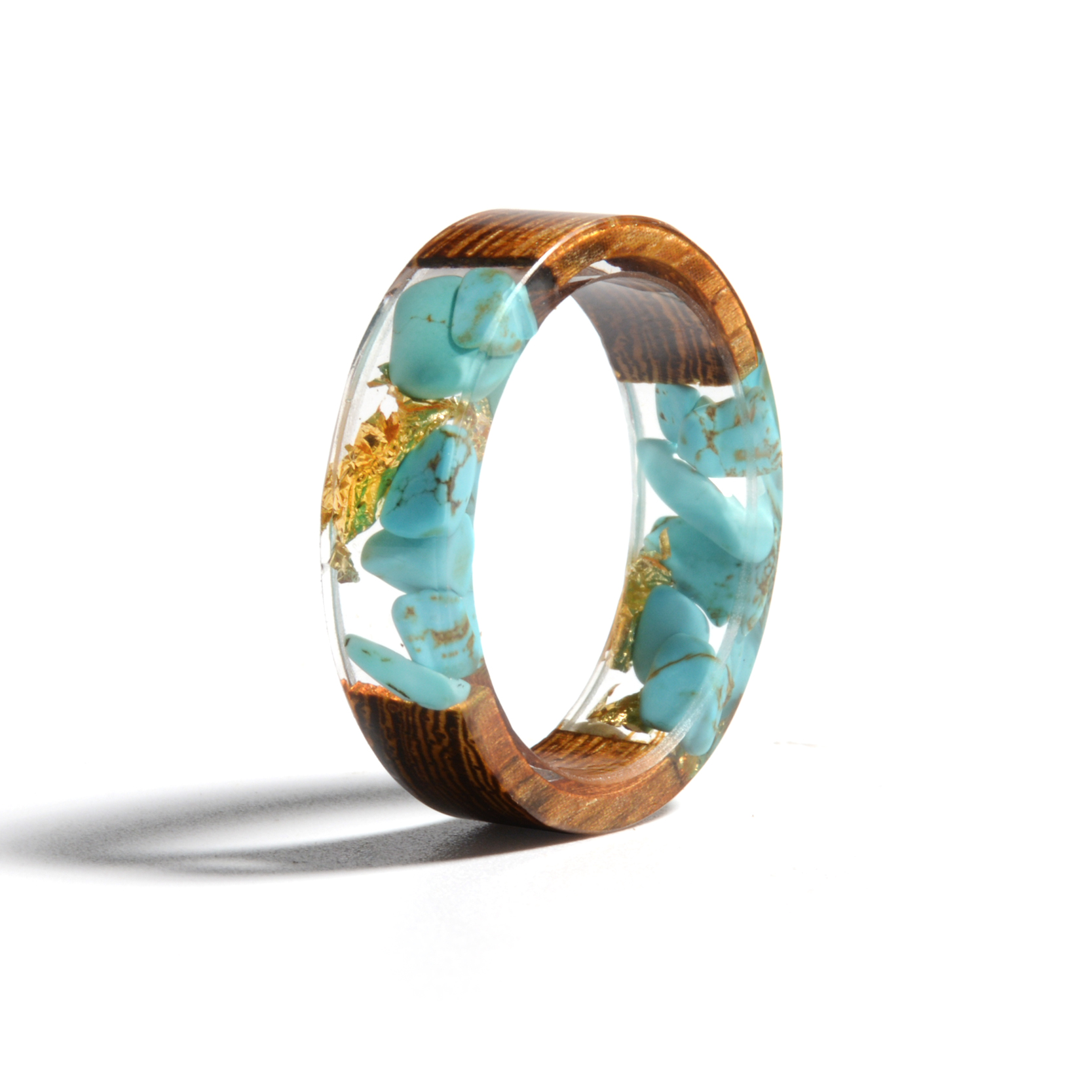 Clear Wood Resin Ring Handmade Dried Flower Hand Jewellery 17