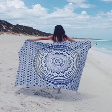 150*210cm Bohemia Square Beach Towel Print Meditation Mandala Towels Hippie Peacock Mandala Tapestry Mat(China)