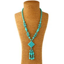EVERYSHINE Fashion tassel Long necklace brand geometry Wild turquoise Jewelry Accessories party wedding Necklace wholesale JQ796