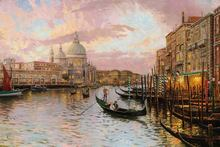 Thomas Kinkade Oil Painting Prints Charleston Sunset On Rainbow Row Wall Pictures For Daughter Gift European Wall Decor AcrRQ013(China)