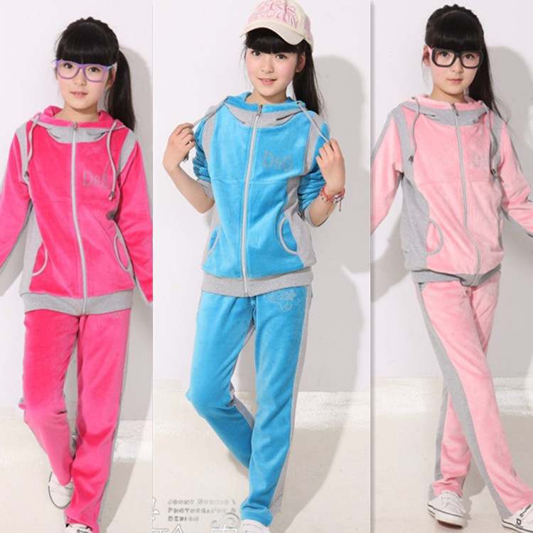 2014 Spring High Quality Velvet Big, Middle Girls Sport Casual Clothing Two Sets For Height 160-170, Pink  Color, Free Shipment<br>
