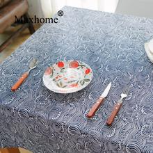Vintage Wave Style Cotton Linen Table Cloth Blue And White Tablecloth Wedding Decor Tablecloth Toalha De Mesa Retangular