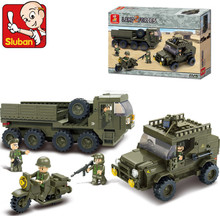 Sluban 455Pcs Army armored vehicles Jeep Motorcycles 3D Construction Plastic Model Building Blocks Bricks Toys for Children(China)
